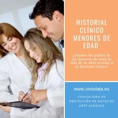 PROTECCIÓN DE DATOS. HISTORIA CLÍNICA MENORES